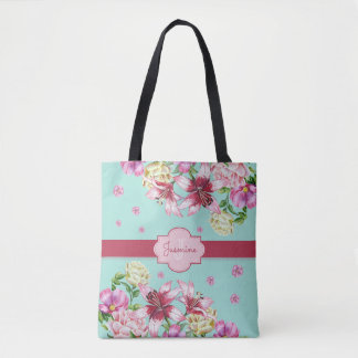 Lily & Peony Floral Aqua Tote Bag