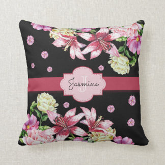 Lily & Peony Floral Black Cushion