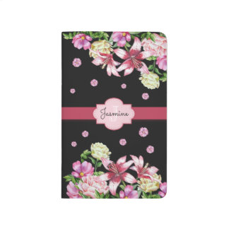 Lily & Peony Floral Black Journals