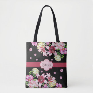 Lily & Peony Floral Black Tote Bag