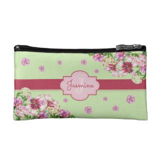 Lily & Peony Floral Mint Makeup Bag