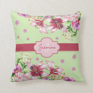 Lily & Peony Floral Mint Throw Pillow