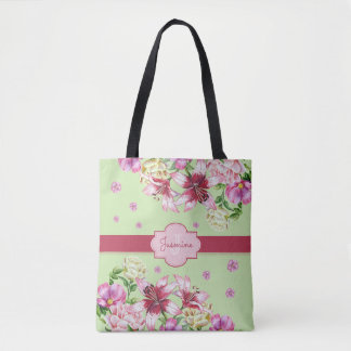 Lily & Peony Floral Mint Tote Bag