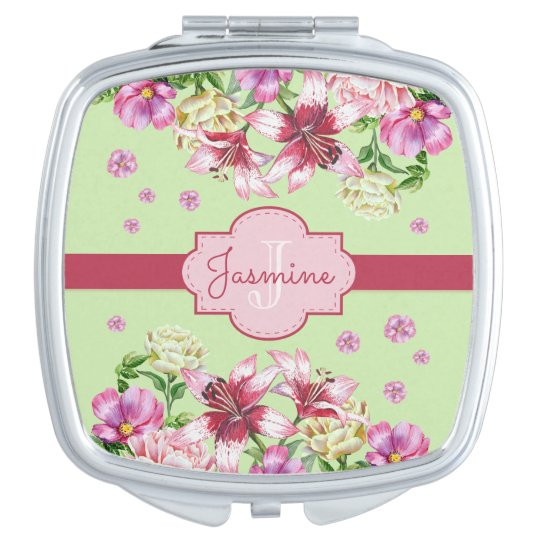 Lily & Peony Floral Mint Travel Mirror