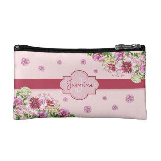 Lily & Peony Floral Pink Makeup Bag