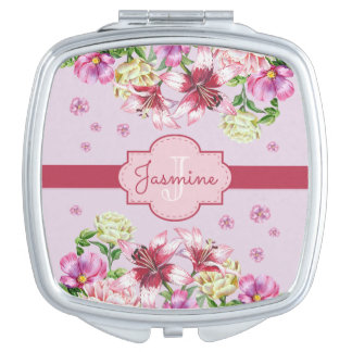Lily & Peony Floral Purple Mirrors For Makeup