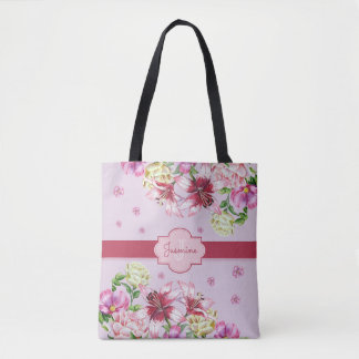 Lily & Peony Floral Purple Tote Bag