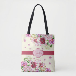 Lily & Peony Floral Yellow Tote Bag