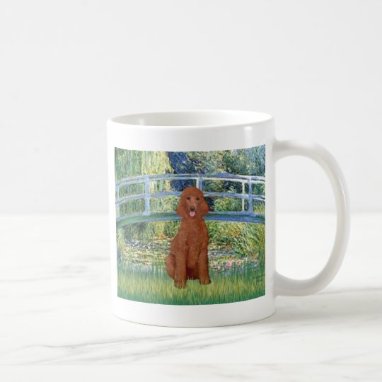 Lily Pond Bridge - Dark Red Standard Poodle #1 Coffee Mug