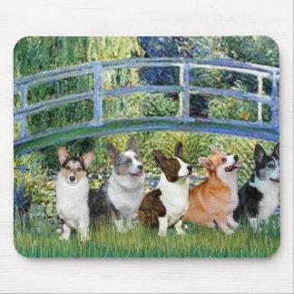 Lily Pond Bridge - Welsh Corgis (five) Mouse Mat