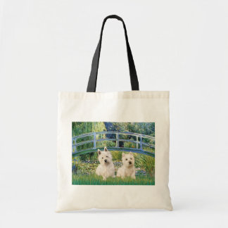 Lily Pond Bridge - Westies (two) Budget Tote Bag