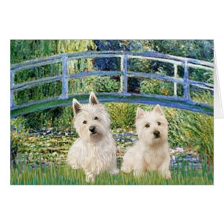Lily Pond Bridge - Westies (two) Greeting Card