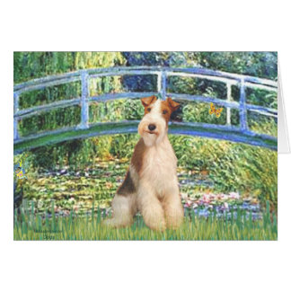Lily Pond Bridge - Wire Fox Terrier 3 Card