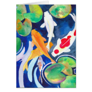 lily pond Koi Card