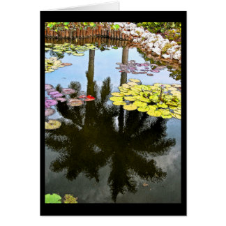 """LILY POND, PALM TREE REFLECTIONS, LILY PADS"" GREETING CARD"