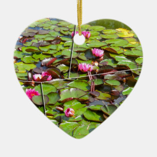 Lily pond times four ceramic heart decoration