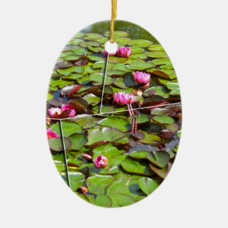 Lily pond times four ceramic oval decoration