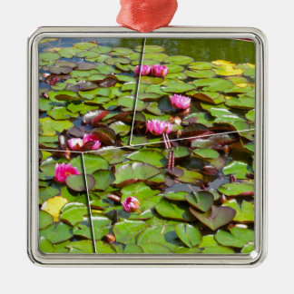 Lily pond times four Silver-Colored square decoration