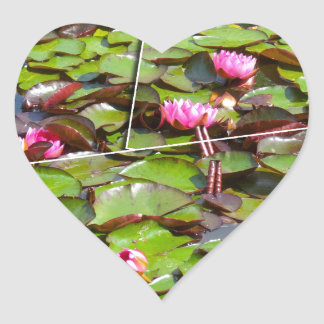 Lily pond times four heart sticker