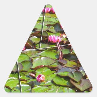 Lily pond times four triangle sticker