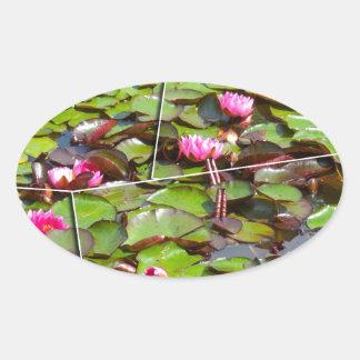 Lily pond times four oval sticker