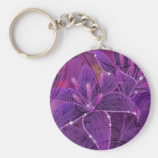 Lily Purple Dreams Basic Round Button Key Ring