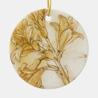 Lily Round Ceramic Decoration