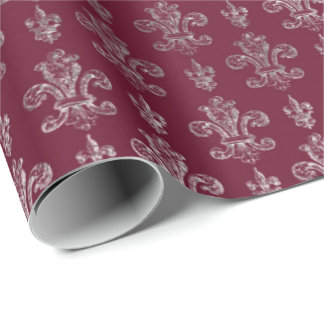 Lily Royal Damask Maroon Burgundy Silver Wrapping Paper