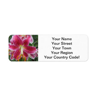 Lily Stargazer Purple Flower Return Address Label