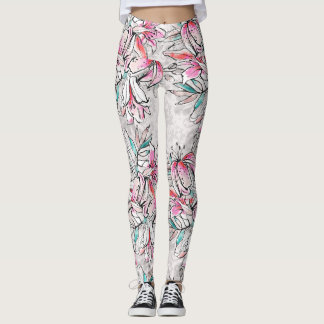 Lily teal pink white lilies leggings