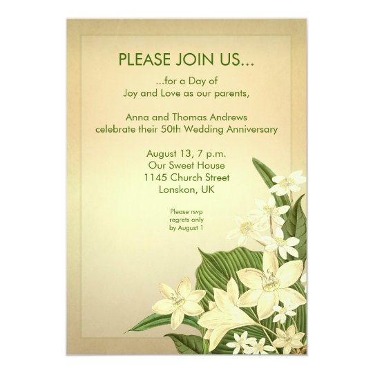 lily wedding anniversary invitation