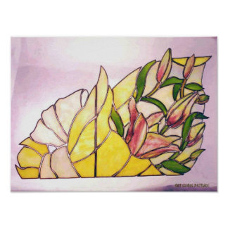 Lily Wrapping Flower Bouquet Poster