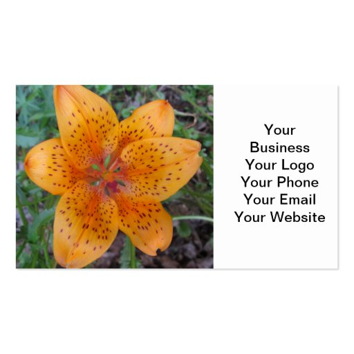Lily Yellow Orange Speckled Business Card