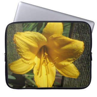 Lily Yellow Weathered Fence Computer Sleeve