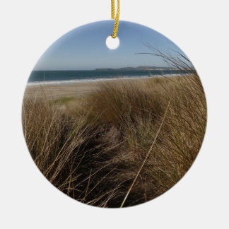 Limantour Beach at Point Reyes National Seashore Round Ceramic Decoration