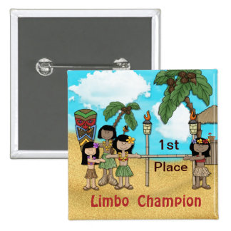 Limbo Luau Birthday Party - Limbo Champion 15 Cm Square Badge