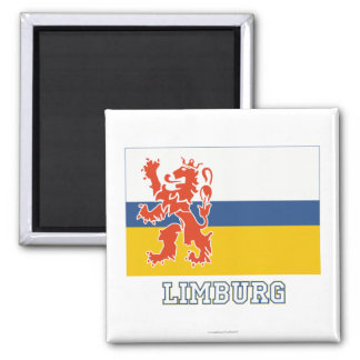 Limburg Flag with name Square Magnet