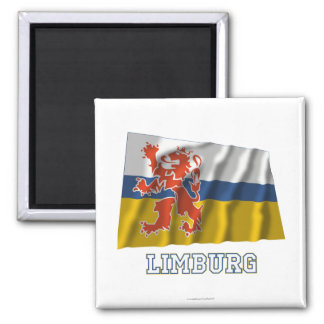 Limburg Waving Flag with Name Square Magnet