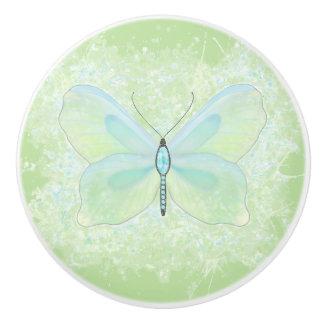 Lime and aqua jeweled butterfly knob
