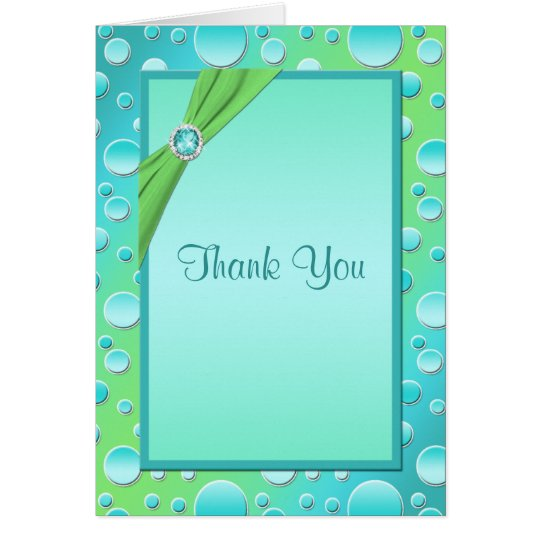 Lime and Aqua Polka Dot Thank You Card