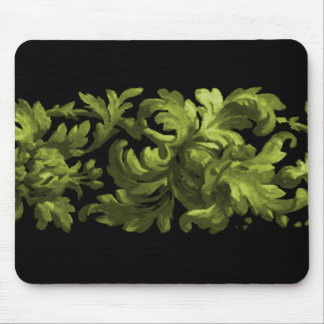Lime and Black Acanthus Scroll Mouse Pad