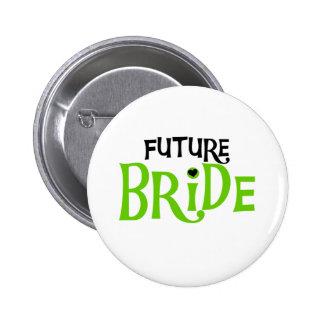 Lime and Black Future Bride 6 Cm Round Badge
