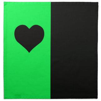 Lime And Black Heart Napkin