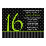 Lime and Black Polka Dot Stripes Sweet 16 Birthday Custom Announcements