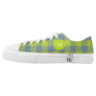 lime and blue buffalo plaid low tops