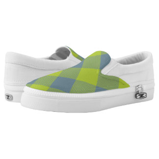 lime and blue buffalo plaid printed shoes