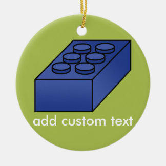 Lime and Blue Building Black Toy Custom Text Christmas Ornament