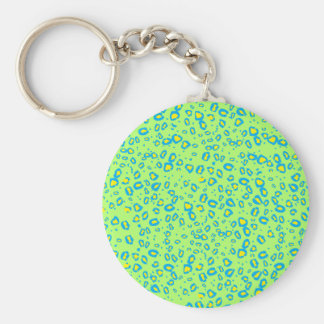 lime and blue cheetah basic round button key ring