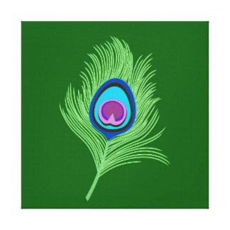 Lime and Blue Peacock Feather on Emerald Green Canvas Print
