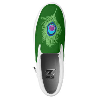 Lime and Blue Peacock Feather on Emerald Green Slip-On Shoes